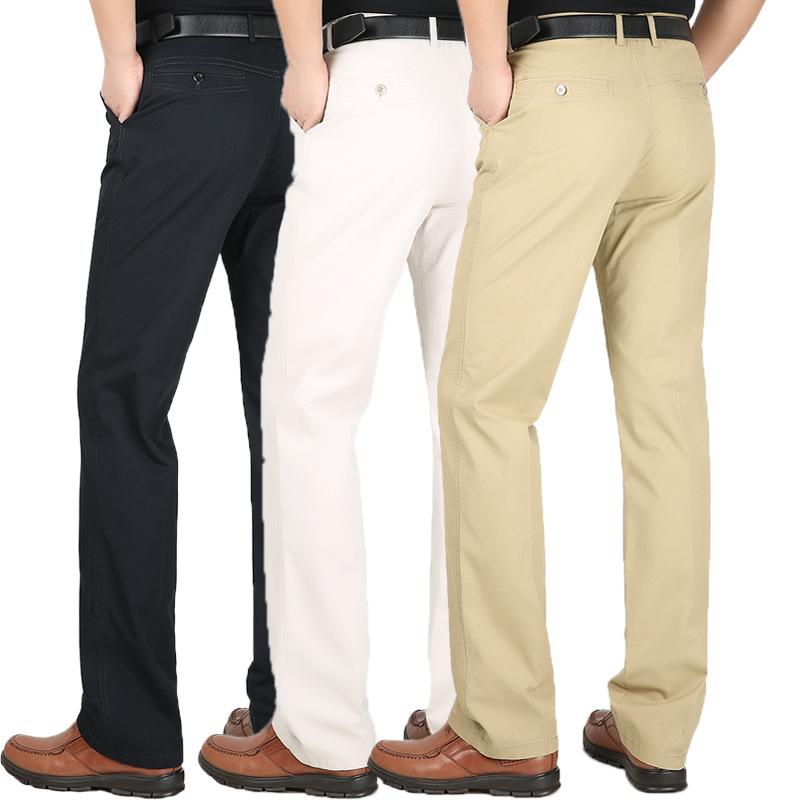 [해외]남자 & s 정장 바지 봄 여름 코튼 얇은 느슨한 하이 웨스트 남성 바지 드레스 바지 스트레이트 비즈니스 플러스 사이즈 44/Men&s Suit Pants spring summer Cotton Thin Loose high waist Men Trousers