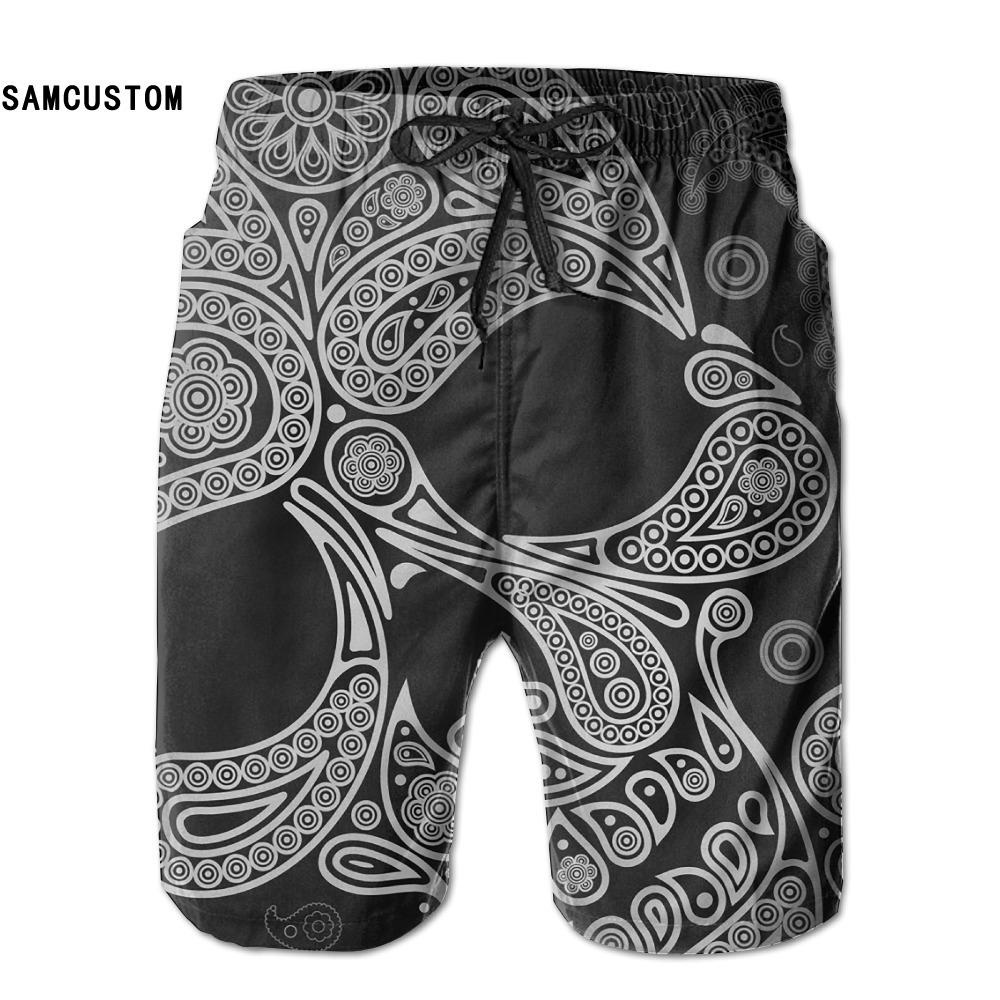 [해외]SAMCUSTOM mens 땀 흡수 속건 초경량 통기성 어두운 해골 반바지 gmy 반바지 비치 반바지/SAMCUSTOM mens perspiration quick dry ultra-light breathable Dark Skull shorts gmy  short