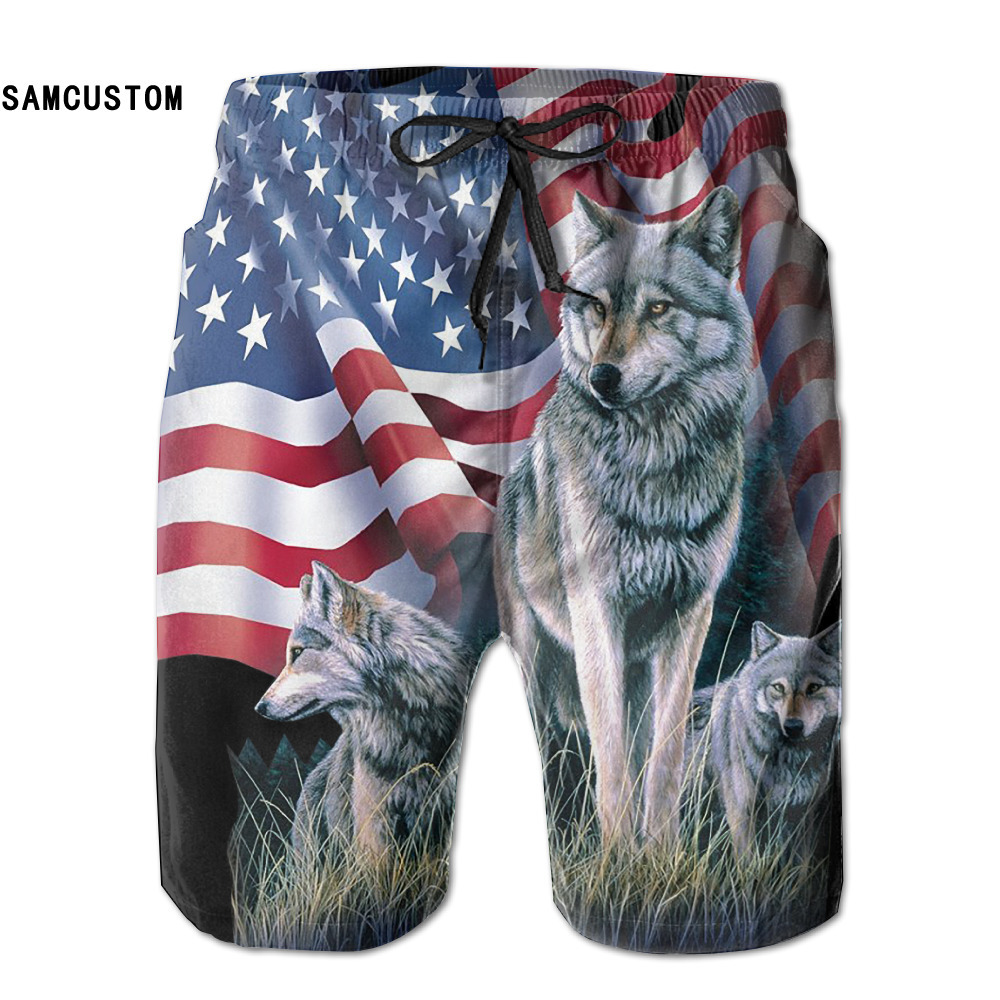 [해외]SAMCUSTOM mens 땀 흡수 속건 초경량 통기성 울프 플래그 반바지 gmy 반바지 비치 반바지/SAMCUSTOM mens perspiration quick dry ultra-light breathable Wolf Flag shorts gmy shorts