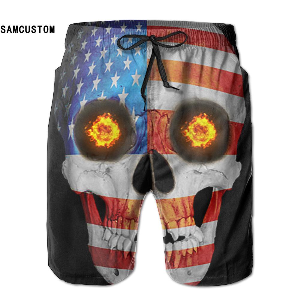 [해외]SAMCUSTOM 멘스 땀 방지 초박형 통기성 속건 FLAG 해골 반바지 gmy 반바지 비치 반바지/SAMCUSTOM mens perspiration quick dry ultra-light breathable USA FLag Skull shorts gmy sho