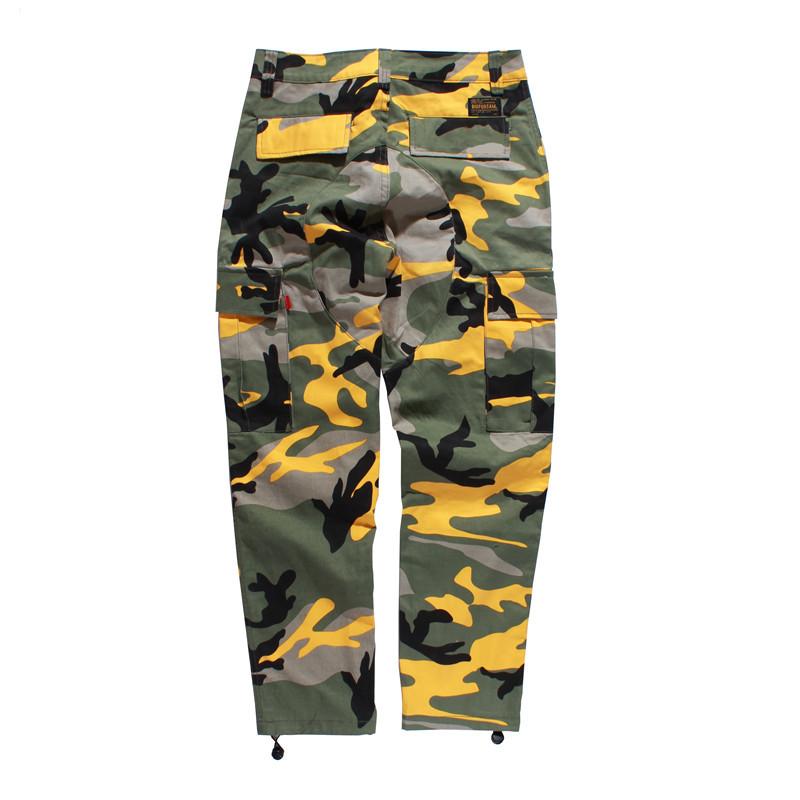 [해외]위장화물 바지 2018 남성 여성 캐주얼 Streetwear 포켓 조깅 주황색 전술용 스웨트 팬츠 힙합 바지/Camouflage Cargo Pants 2018 Men Women Casual Streetwear Pockets Jogger Orange Tactica