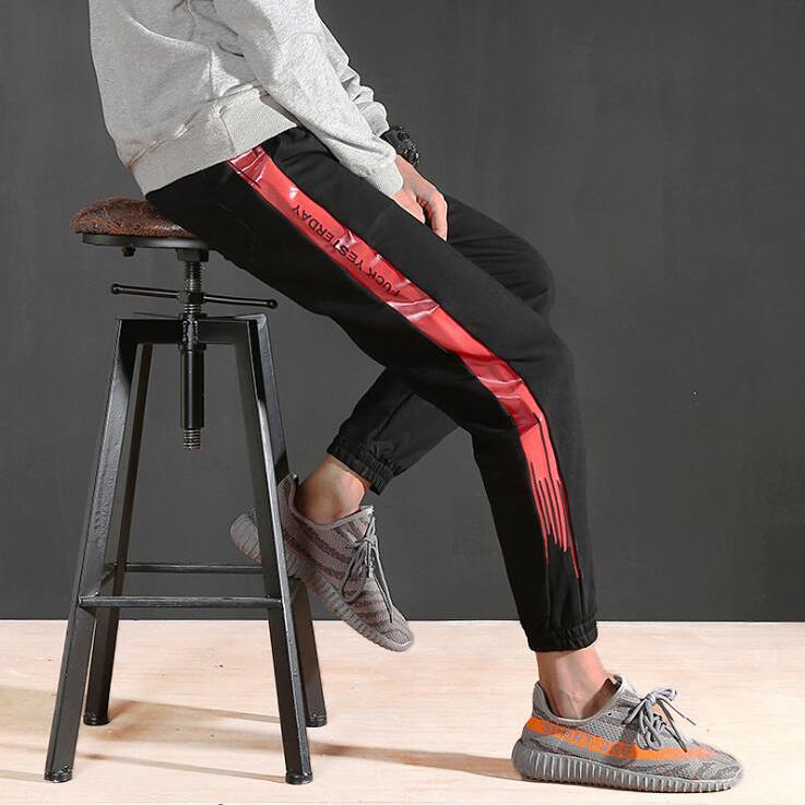 [해외]MASCUBE 스트라이프 패치 워크 Harem Pants Mens 2018 힙합 인쇄 컬러 블록 캐주얼 조그만 스웨트 팬츠 남성 Streetwear/MASCUBE Striped Patchwork Harem Pants Mens 2018 Hip Hop Printed