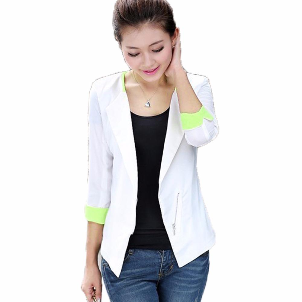 [해외]봄 가을 여성 블레 이저 레이디 수트 자켓 여성 코트 비즈니스 오피스 유니폼 블레이져 화이트 / 블루 카디건 페미 여성 2016/Spring Autumn Women Blazer Lady Suit Jacket Female Coat Business Office Un