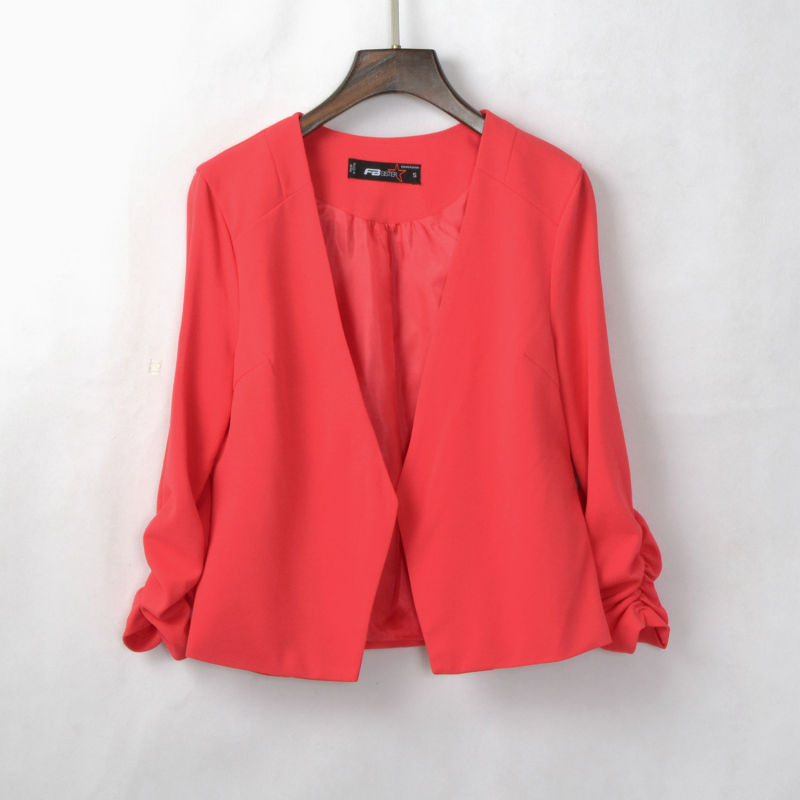 [해외]CD224 할인 봄 슬림 블레이저 여성 패션 솔리드 탄성 단추 없음 짧은 정장 3 분기 슬리브 비즈니스 여성 블레이져/CD224 Discount Spring Slim Blazers Women Fashion Solid Elastic No Button Short S