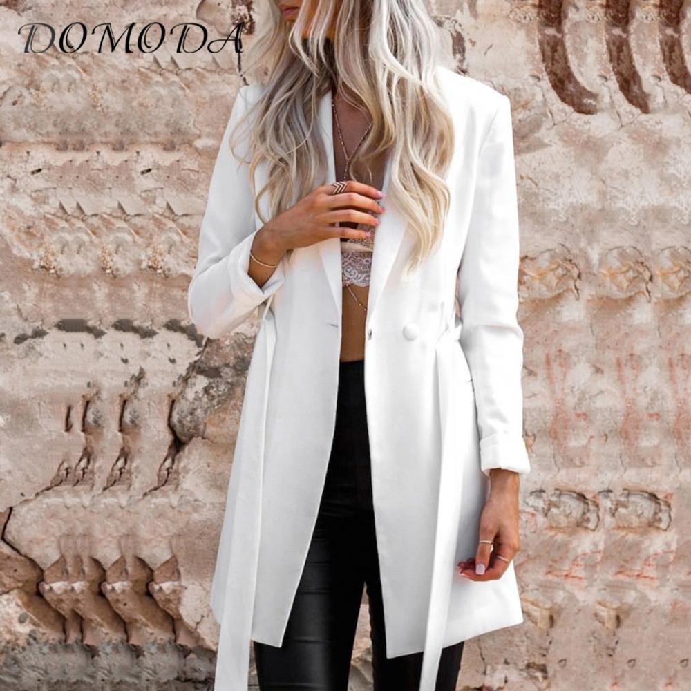 [해외]DOMODA 의류 캐주얼 여성 슬림 한 블레 이저 타이 허리 기본 여성 블레 이저 정장 재킷 우아한 프레피 티크 코트 블레 이저/DOMODA Apparel White Casual Women Slim Suit Blazer Tie Waist Basic Female