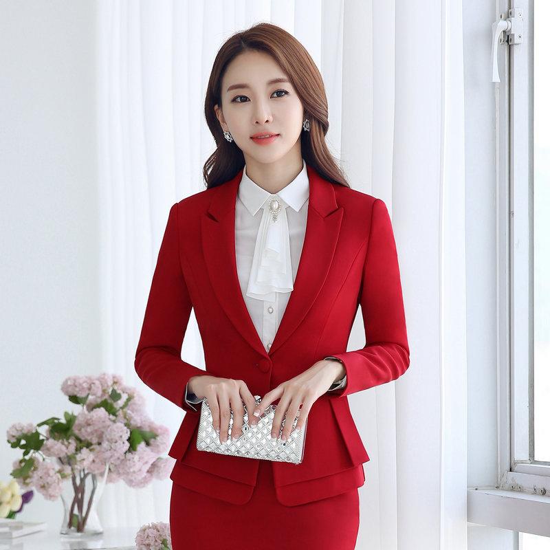 [해외]2017 Slim Women Work Office 숙녀 사업 아웃웨어 솔리드 캐주얼 탑 코트 긴 Retail 블레이저 레드 그레이 우아한 자켓 경력상의/2017 Slim Women Work Office Lady Business Outwear Solid Casua