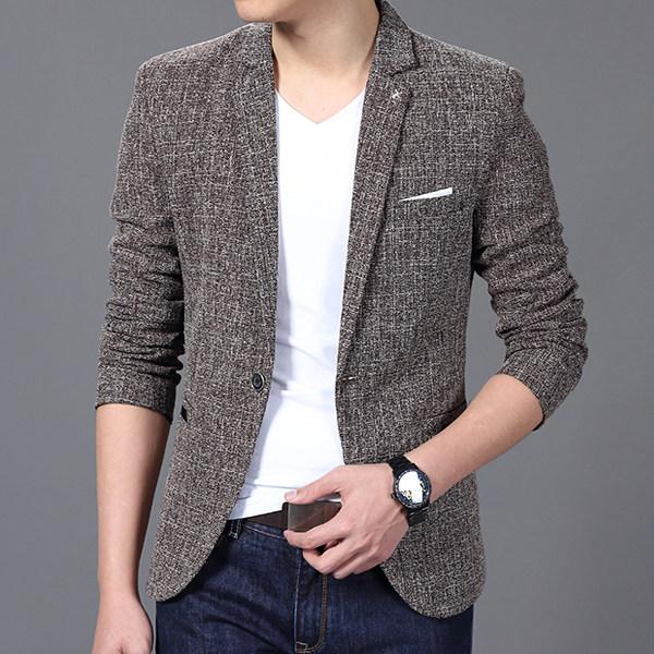[해외]블레 이저 남성 2017 남성 & S 패션 브랜드 솔리드 리넨 성격 포켓 남성 싱글 브레스트 드 싱글 버튼 Terno Masculino 3XL FIWYRN/Blazer Men 2017 Men&S Fashion Brand Solid Linen Persona