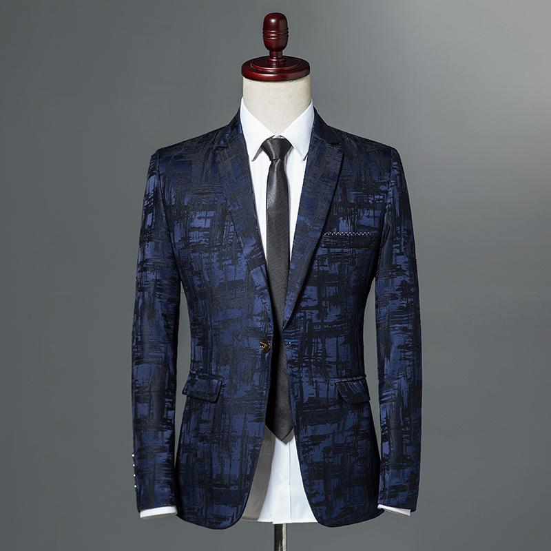 [해외]2018 가을 남성 스위트 클래식 브랜드 블레이저 남성 싱글 버튼 캐주얼 프린트 슬림 피트 비즈니스 정장 자켓 와인 레드 그레이 카키/2018 Autumn Male Suite Classic Brand Blazer Mens Single Button Casual P