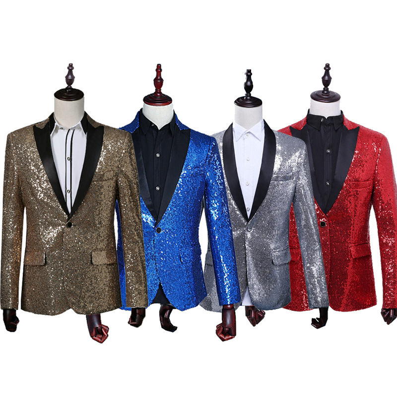 [해외]paillette 남성 마스터 장식 조각 드레스 무대 의상 남성 terno 정장 엠씨 주최 의류 가수 정장 & amp; 블레이저 쇼어 자켓 겉옷/paillette male master Sequins Dresses Stage Costumes Men tern