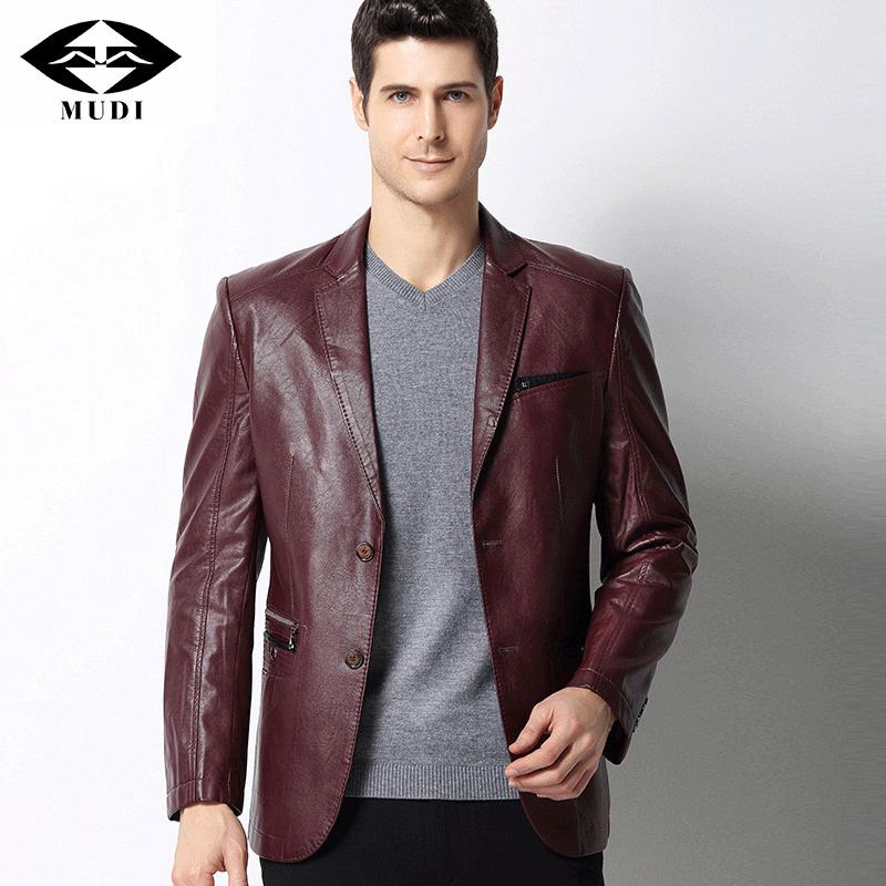 [해외]MUDI 남성 가죽 자켓 New Arrival 겨울 고급 캐주얼 PU 가죽 블레이저 남성 캐주얼 슬림 남성 자켓 코트/MUDI Men leather Jackets New Arrival Winter Upscale Casual PU Leather Blazers Ma