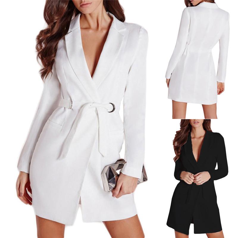 [해외]우아한 사무실 숙녀 검은 색 흰색 블레이저 여성 긴 블레이저와 재킷 여성 허리 넥타이 가디건 V 넥 코트 feminino 슈트/Elegant Office Lady Black White Blazers women long blazers and jackets wome