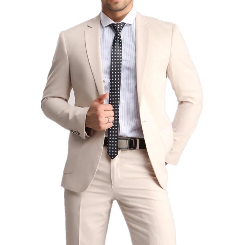 [해외]새로운 남성 & s 레저 정장 라이트 카키색 남성 슬림 양복 2 조각 신랑 결혼식 정장 남자 정장 재킷 + 바지/NEW Men&s leisure suit Made Light Khaki Mens Slim Suits 2 piece Bridegroom Wedd