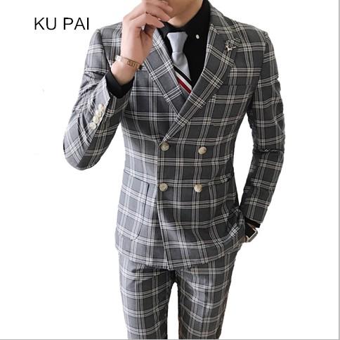 [해외]2018 새로운 파란색 패션 신사 더블 브레스트 슈트 웨딩 격자 양복의 두 세트/2018 new blue fashion gentleman double breasted suit two sets of wedding lattice suit suit