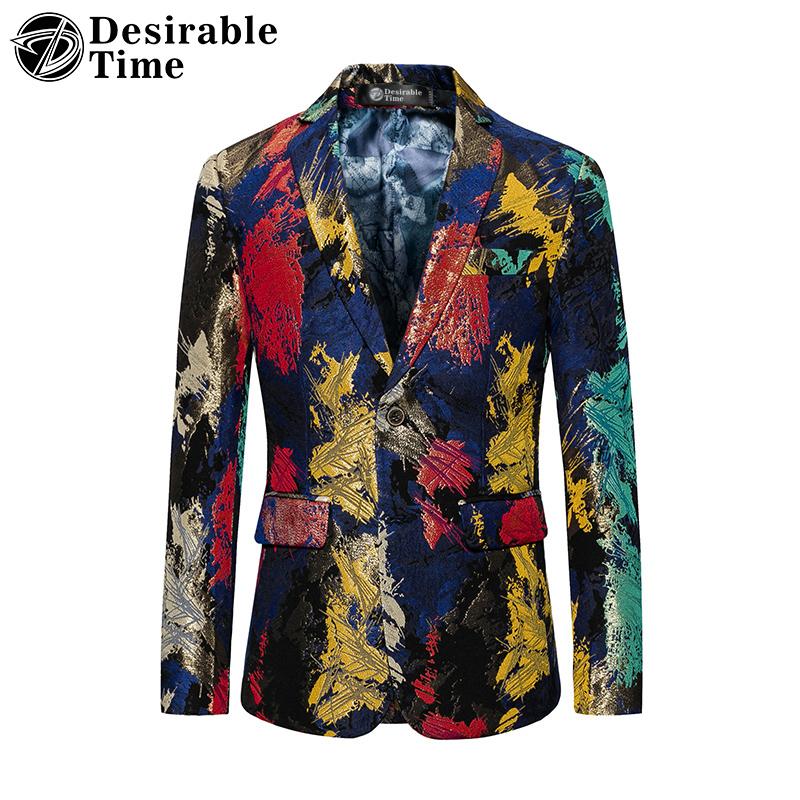 [해외]바람직한 시간 남자 & s 다채로운 인쇄 된 블 레이저 슬림 맞는 두 단추 캐주얼 파티 파티 블레 이저 자 켓 남자 DT101/Desirable Time Men&s Colorful Printed Blazer Slim Fit Two Button Casual