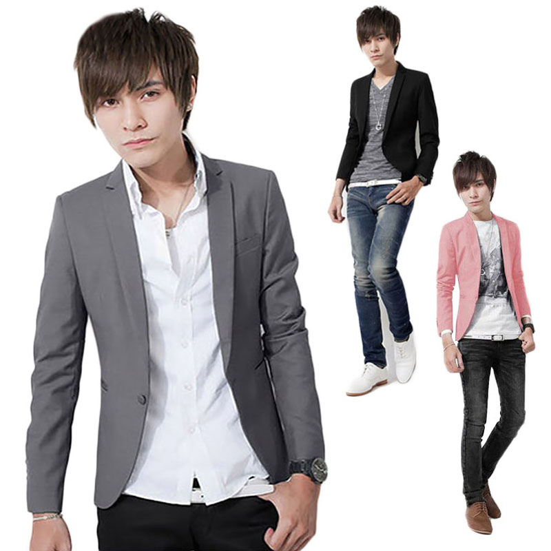 [해외]남자 & 여자 정장 슬림 맞는 캐주얼 블레이저 단색 싱글 버튼/Men&s small suit Leisure Suit  Slim Fit Casual Blazer Solid Color Single Button