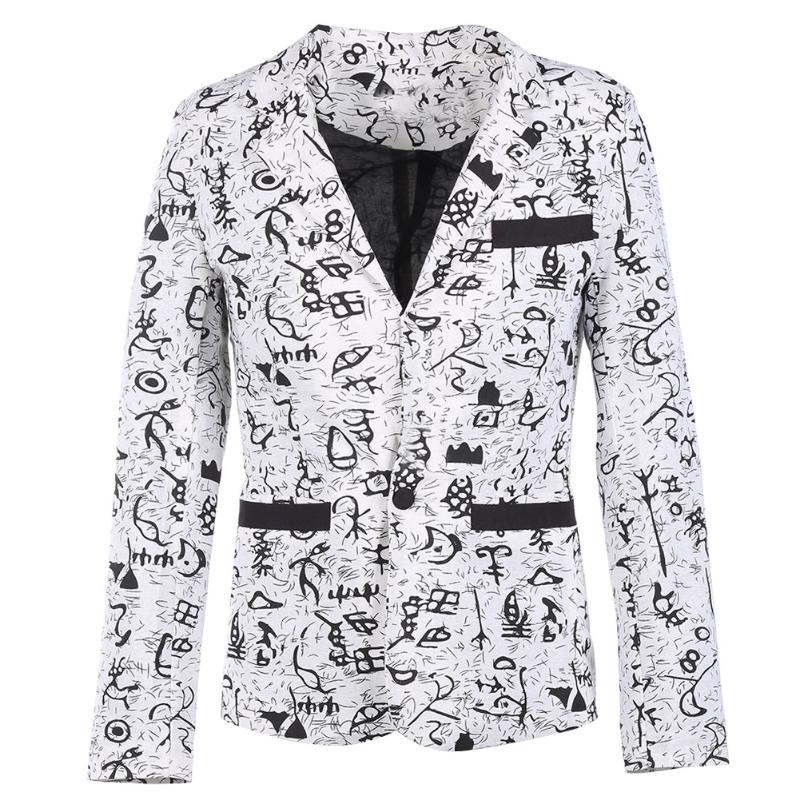 [해외]2017 가을 유행 스타일 긴 Retail 코 튼 남자 양복 블레 이저 싱글 버튼 캐주얼 인쇄 슬림 맞는 남성 비즈니스 정장/2017  Autumn Fashionable Style Long Sleeve Cotton Men Suit Blazer Single But