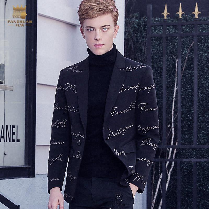 [해외]Fanzhuan 새로운 검은 패션 캐주얼 2017 남자 & S의 유럽의 편지 법원의 자수는 작은 양복 재킷 710219에 어울립니다/Fanzhuan  New black fashion casual 2017 male Men&s European letters