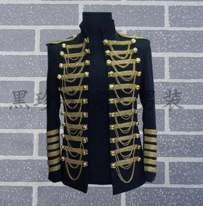 [해외]검은 백인 남성 정장 디자인 남성용 남자 homme terno 무대 의상 남자 레드 블레어 댄스 의류 재킷 스타일 드레스/Black white men suits designs masculino homme terno stage costumes for singers