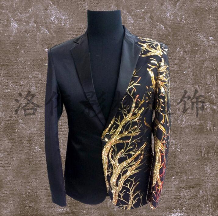 [해외]남성 정장 디자인 남성용 무대 의상 남성 스팽글 재킷 댄스 의류 자켓 스타일 드레스 펑크 록 블랙/men suits designs masculino terno stage costumes for singers men sequin blazer dance clothe