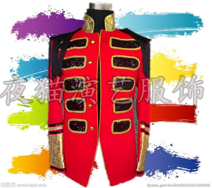 [해외]남성 정장 디자인 스탠드 칼라 빨간색 terno 무대 의상 가수 남성 스팽글 블레어 댄스 의류 자켓 스타일 드레스 펑크 록/men suits designs stand collar red terno stage costumes for singers men sequi