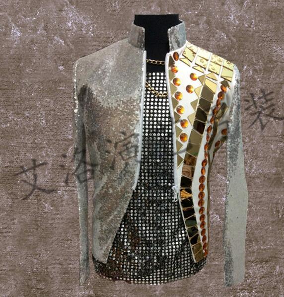 [해외]남성 디자이너 스케이팅 블레 이저 댄스 재킷 스타일 드레스 펑크 록 스탠드 칼라 회색/men suits designs gold lens stage costumes for singers men sequin blazer dance jacket style dress