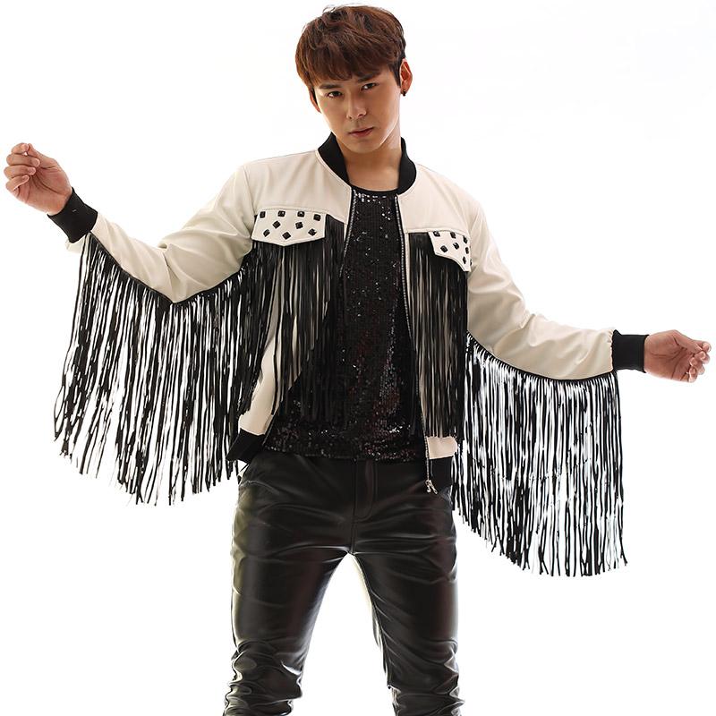 [해외]남성 가죽 자켓 술 장식 가수를무대 의상 디자인 남성 리벳 블레어 댄스 의류 스타 스타일 드레스 펑크/mens leather jackets tassel suits designs stage costumes for singers men rivets blazer da