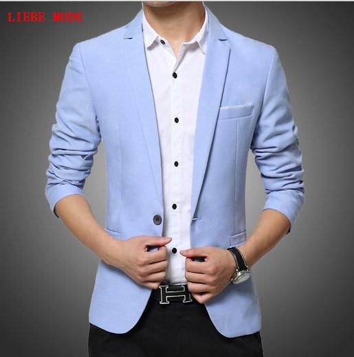 [해외]남자 봄 가을 캐주얼 블레이저 Masculino 남자 & s 패션면 양복 블랙 블루 망 여름 블레이저 자켓 Veste Costume Homme/Men Spring Autumn Casual Blazer Masculino Men&s Fashion Cotton