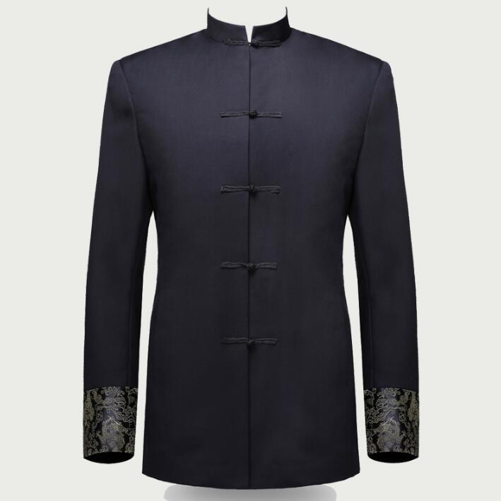 [해외]싱글 브레스트 슬림 피트 블레이저 남성  튜닉 정장 자켓 남성 정장 남자 패션 블레이저 스탠드 칼라 가을 플러스 벨벳/Single breasted slim fit blazer men chinese tunic suit jacket male suits man fas