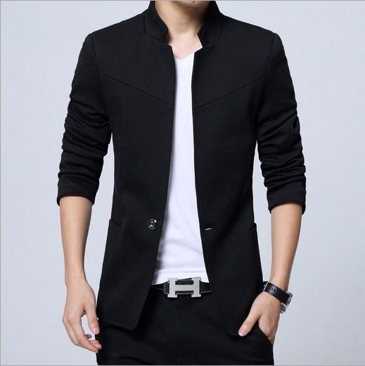 [해외] 칼라 마오 정장 재킷 남자 슬림 피트 블레 이저 남자 플러스 사이즈 망 블레 이저 블랙 블루 그레이 레드 3XL 4XL 5XL/Chinese Collar Mao Suit Jacket Mens Slim Fit Blazer For Men Plus Size Mens