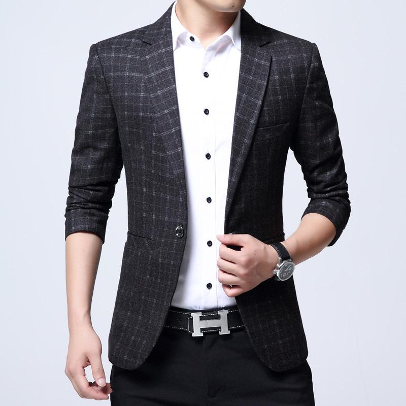 [해외]남성 의류 2018 Americana Hombre Blazer 남성면 혼합 혼합 무늬 Casaco Masculino Veste Homme 제복 슬림 피트 블레이져 남성 정장/Men Clothes 2018 Americana Hombre Blazer Men Cott