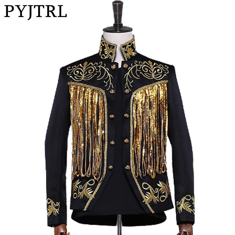 [해외]PYJTRL 남성용 금색 반짝 반짝 빛깔의 술 장식 자수정 더블 브레스트 무대 싱어 슈트 자켓 남성 슬림 피트 블레이저 디자인/PYJTRL Men&s Gold Silver Twinkle Tassel Sequins Embroidery Double Breasted