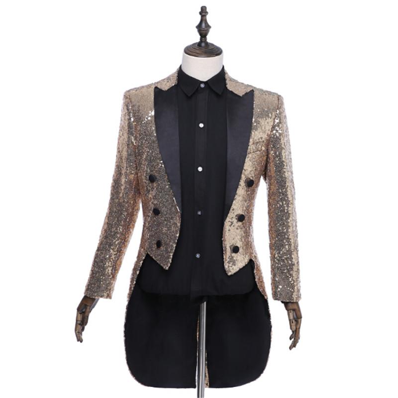 [해외]?골드 실버 레드 블루 블랙 스팽글 슬림 피트 Tailcoat 무대 가수 댄스 파티 복장 의상 웨딩 신랑 정장 재킷/ Gold Silver Red Blue Black Sequin Slim Fit Tailcoat Stage Singer Prom Dresses Co