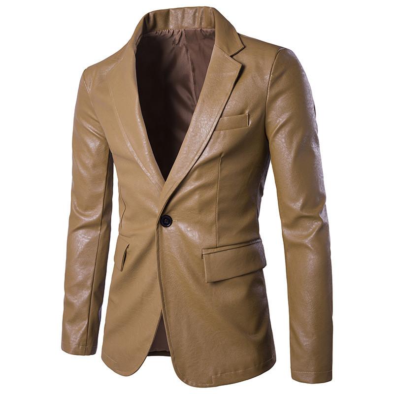 [해외]브랜드 PU 정장 재킷 가을 원 버튼 남성 웨딩 블레 이저 슬림 피트 의상 옴므 슈트 자켓 남성 블레이저 자켓/Brand PU Suits Jacket Autumn One Button Men Wedding Blazer Slim Fit Costume Homme Su