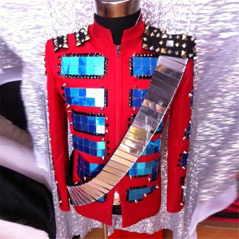 [해외]DJ 쇼 패션 무대 WearRivet 장식 조각 남성 의류 코튼 소재 베스트 퍼포먼스 복장 DH-020/DJ Show Fashion Stage WearRivet Sequins Singer Clothing for Men Cotton Material Best Per
