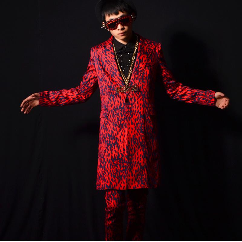 [해외]남성 레드 레오파드 긴 정장 나이트 클럽 DJ 가수 쇼 의상 옴므 슬림 맞는 정장 남자 파티 의류 무대 정장 K608/Men red leopard long suits nightclub DJ singer show costumes homme men slim fit