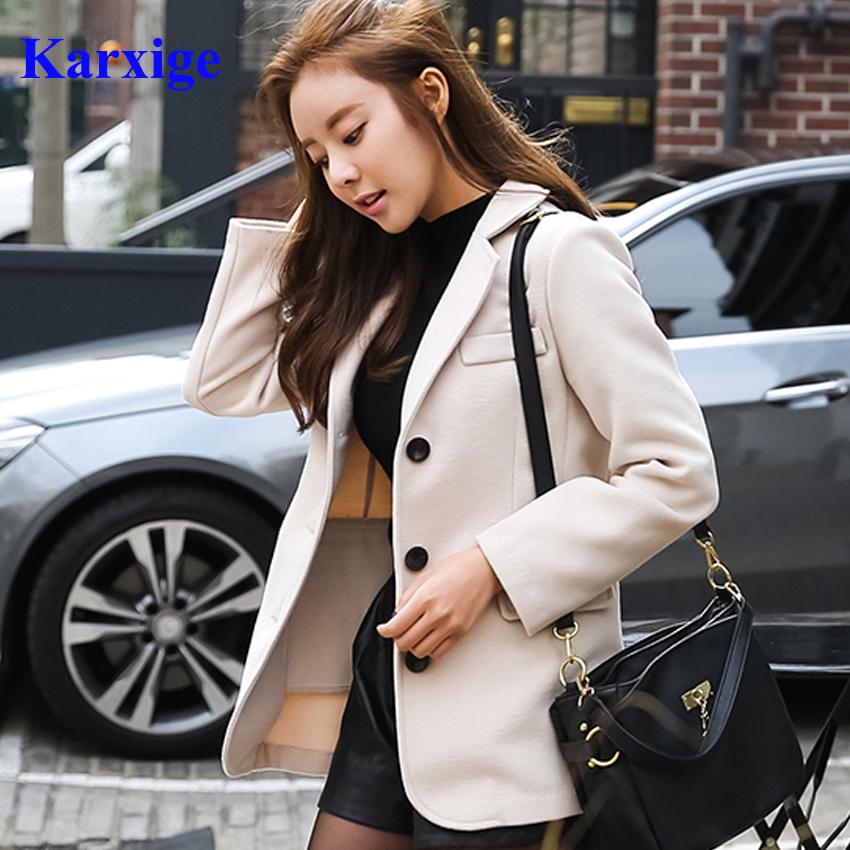 [해외]봄과 여름 레저 베이지 겨울 단추 퓨어 컬러 우아한 Office 레이디 모직 소재 따뜻한 여성 하이 엔드 양복 재킷/Spring and Summer Leisure Beige Winter Button Pure Color Elegant Office Lady Wool