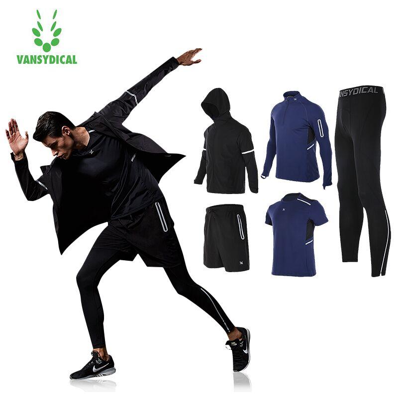 [해외]Vansydical 새로운 따뜻한 스포츠 정장 5pcs 남자 스포츠웨어 Windproof 체육관 훈련 Tracksuit 조깅 자 켓 S-3XL 설정/Vansydical New Warm Sport Suit 5pcs Men Sportswear Windproof Gy
