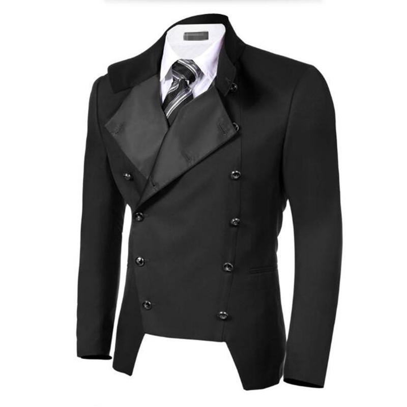 [해외]Bkack 남자 정장 재킷 더블 브레스트 옷깃 정장 비즈니스 정장 재킷 맞춤 만든 신랑 웨딩 턱시도 자켓/Bkack men suits jacket double breasted lapel formal business suits jacket custom made g
