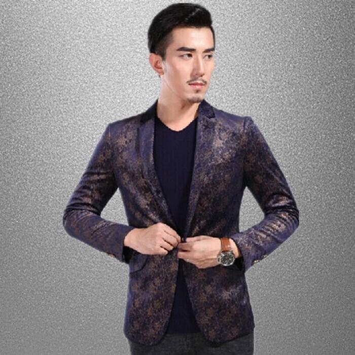 [해외]송료 무료 다크 블루 퍼플 황금 레이스 무늬 유럽 턱시도 자켓 / 스테이지 쟈켓 켓 / 자켓 만입니다/Free shipping mens dark purple golden lace pattern european tuxedo jacket/stage performan
