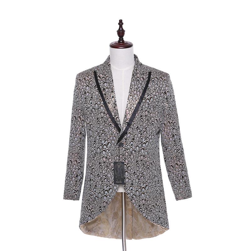 [해외]?신사복 정장 재킷 블레이져 하이 - 로우 원 버튼 신랑 턱시도 플로랄 패턴 자켓 무대 코스튬 자켓 1 점 CUSTOM MADE/ New Men Suit Jacket Blazer Hi-Lo One Buttons Groom Tuxedos Floral Pattern