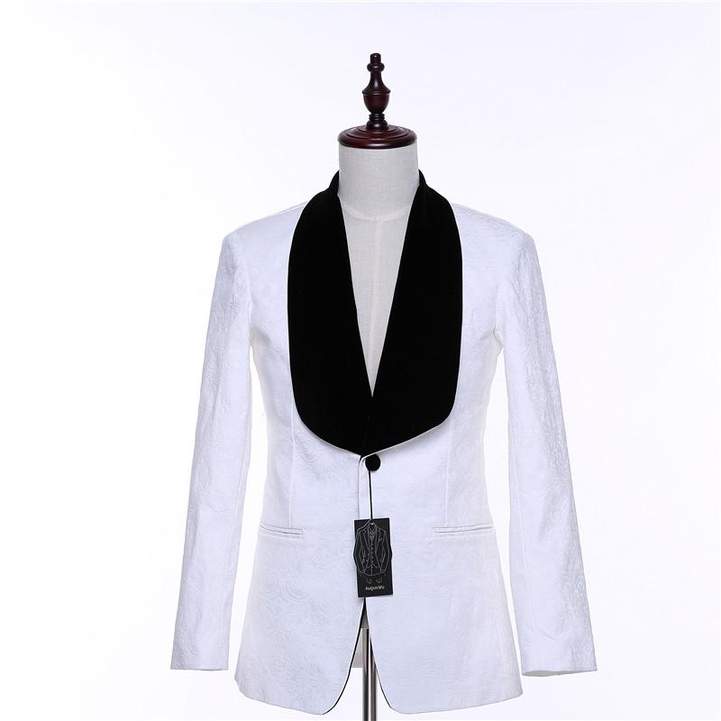 [해외]커스텀 메이드 캐주얼 자켓 블레이저 화이트 플로랄 패턴 슬림 웨딩 턱시도 블레이저 비즈니스 공식 무도회 코트 2 버튼 코트/Custom Made Mens Casual Jacket Blazers White Floral Pattern Slim Wedding Tuxe