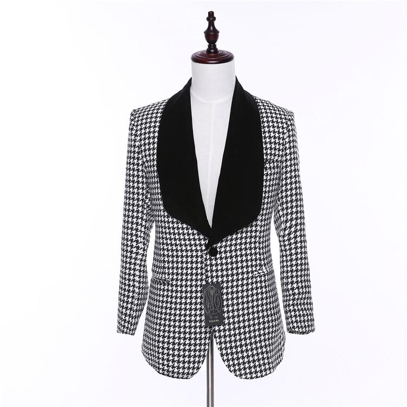 [해외]새로운 디자인 캐주얼 남성 블레이저 자켓 남성 격자 무늬 패브릭 전체 슬리브 망 블레이저 코트 남성 원 버튼 드레스 슬림 맞는 정장 코트 맨/New Design Caual Men Blazer Jacket Men Plaid Fabric Full Sleeve Men