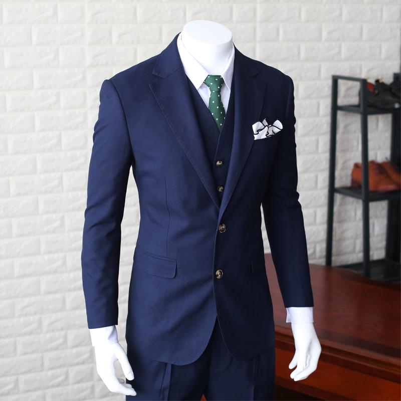 [해외]2017 새로운 패션 정장 3 조각 망 슬림 캐주얼 정장 남성 해군 파란색 웨딩 정장 재킷 남자 블레 이저 공식 드레스 M-XXL/2017 New Fashion Suits 3 pieces Mens Slim Casual Suit Male Navy Blue Wedd