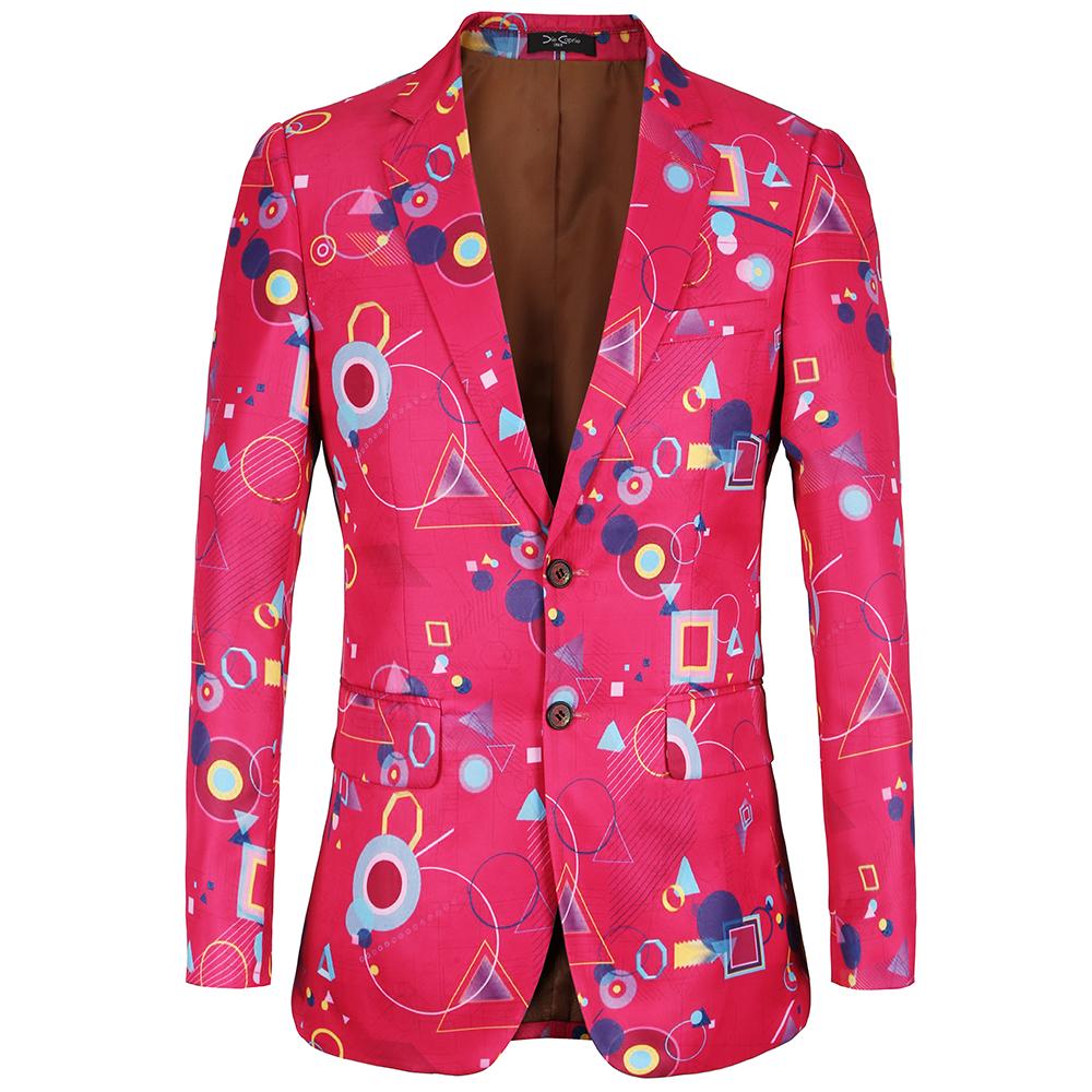 [해외]2018 새로운 브랜드 캐주얼 남성 자켓 기하학적 인쇄 디자인 블레 이저 남성용 플러스 사이즈 58 정장 블레 이저 Hombre/2018 New Brand Casual Mens Jacket Geometric printing design blazer for men