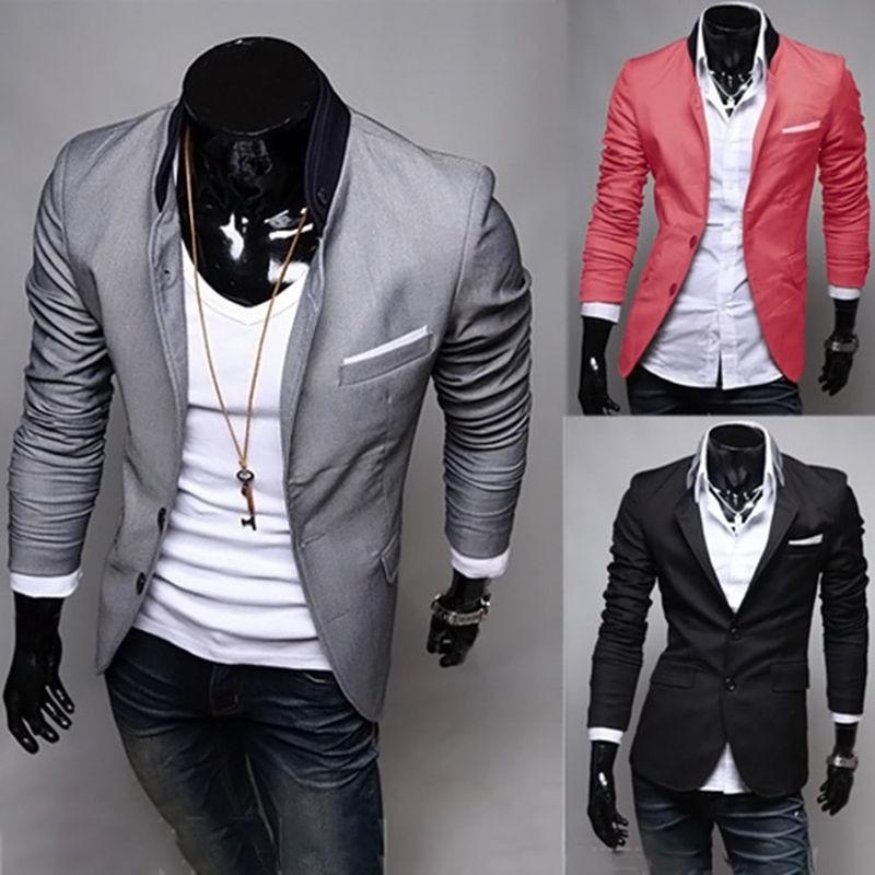 [해외]남성 블레이저 새 도착 두 단추 블레이저 masculino 캐주얼 슬림 맞는 자켓 남자 3 색 정장 자 켓/Men Blazer New Arrival Two Button Blazer masculino Casual Slim Fit Jacket Man 3 Colors