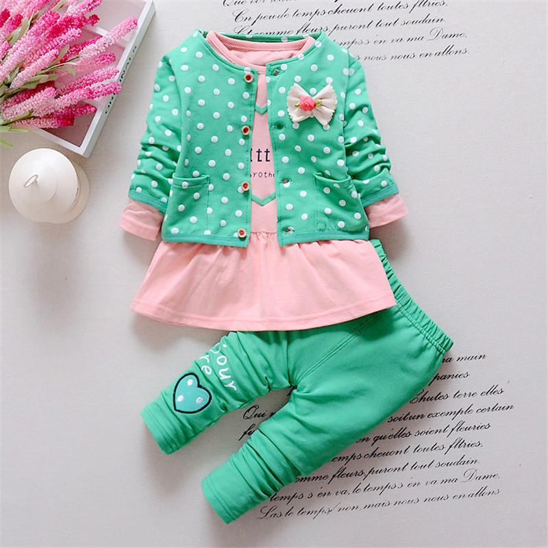 [해외]BibiCola 새로운 봄 여자 아기 의류 세트 패션 여자 만화 옷 폴카 점 재킷 + 긴 Retail 셔츠 + 바지 정장 세트/BibiCola New Spring baby girls Clothing Sets fashion girls cartoon clothes