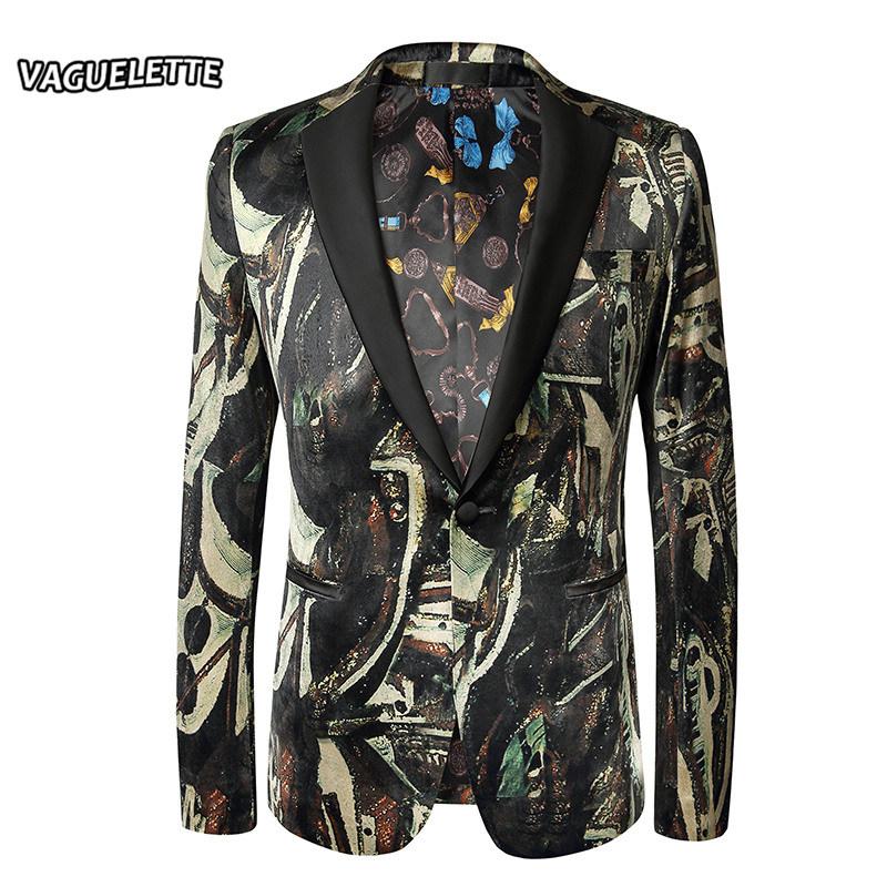[해외]우아한 인쇄 망 재킷 큰 크기 목도리 망 남성 무대 재킷 럭셔리 패션 Velevt 남자 & s 블레이 저와 정장 재킷 M-5XL/Elegant Printed Mens Jacket Big Sizes Shawl Collar Mens Stage Jackets