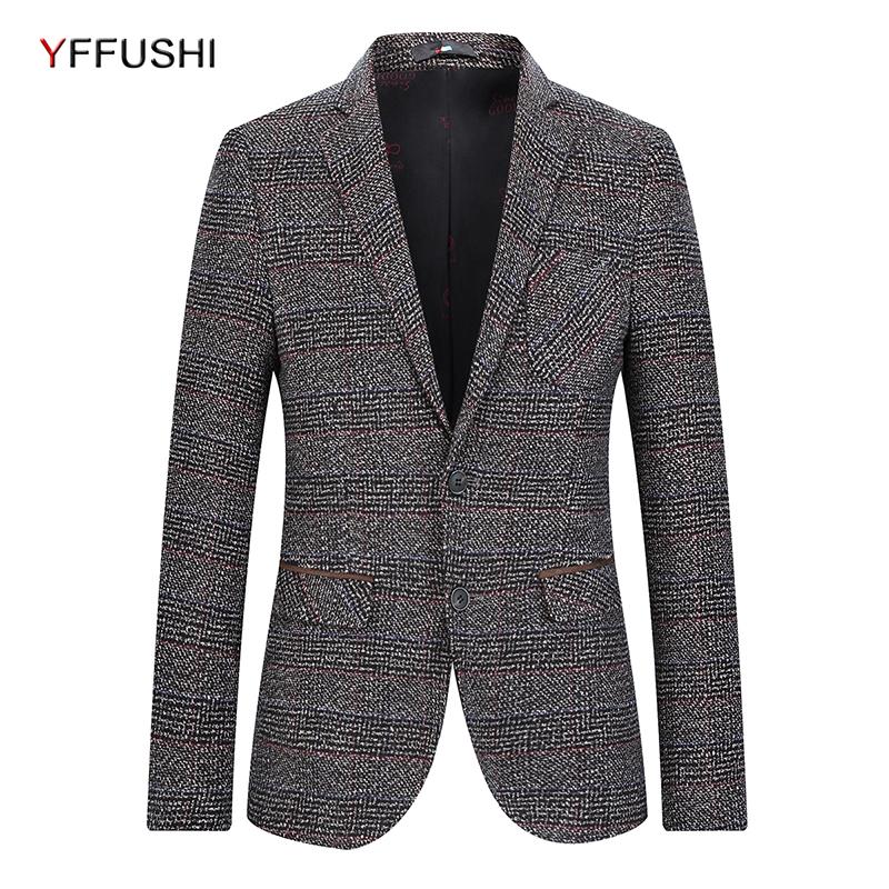 [해외]YFFUSHI 2018 남성 자켓 캐주얼 슬림 피트 솔리드 정장 재킷 패션 스트라이프 남성 & 블레이져 4XL 플러스 사이즈 Elegant Blazers/YFFUSHI 2018 Men Jackets Casual Slim Fit Solid Suits Jac