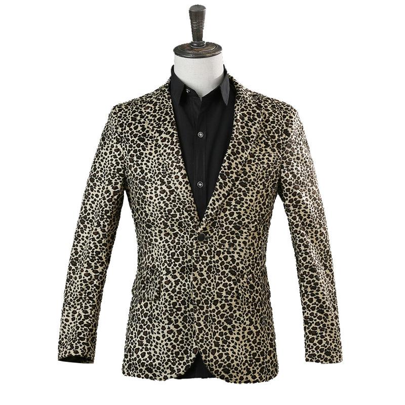 [해외]레오파드 슈트 남자 & s 자 켓 가수 나이트 클럽 무대 의상 호스트 정장 자 켓 바 쇼 드레스 조 수/Leopard suit men&s jacket singer nightclub stage costumes host suit jacket bar show