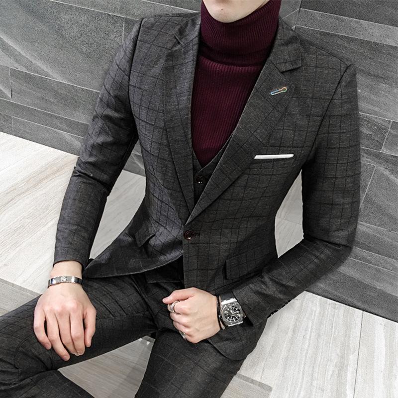 [해외]2018 야드 영국 신사, 하나의 도덕성 육성 확인 된 정장 남자 & s 패션 신랑 드레스 3 피스/2018 yards British gentleman, cultivate one&s morality checked suit suit men&s fashion